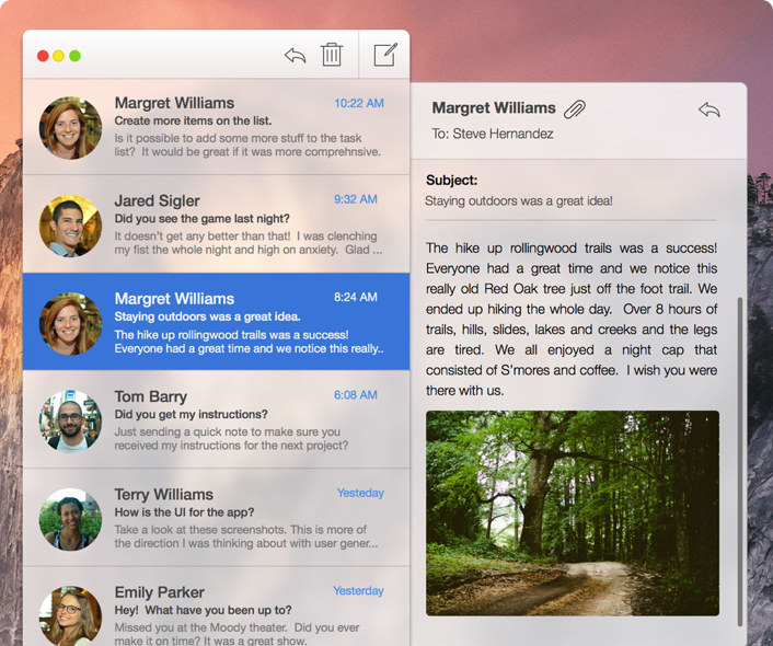 Compact Email for Yosemite OS X